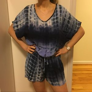 NEW Blue Tied Dye Cinched Romper